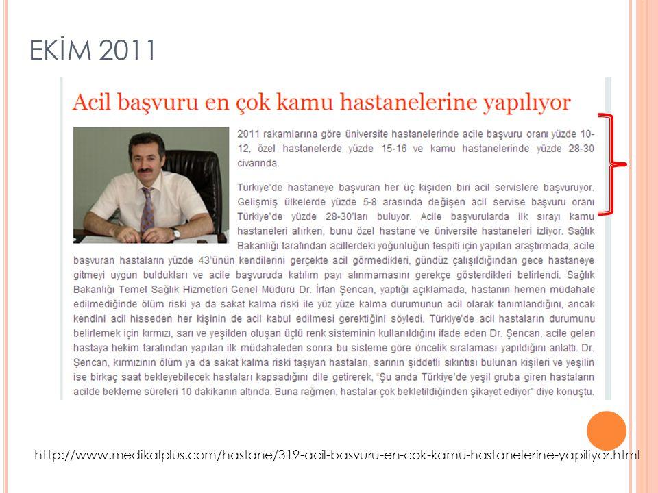 EKİM 2011 http://www.medikalplus.com/hastane/319-acil-basvuru-en-cok-kamu-hastanelerine-yapiliyor.html.