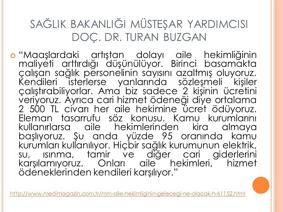 SAĞLIK BAKANLIĞI MÜSTEŞAR YARDIMCISI DOÇ. DR. TURAN BUZGAN