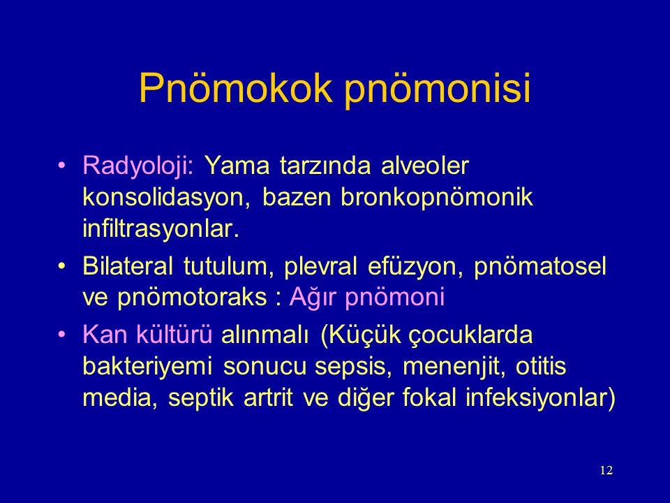 Pnömokok pnömonisi Radyoloji: Yama tarzında alveoler konsolidasyon, bazen bronkopnömonik infiltrasyonlar.