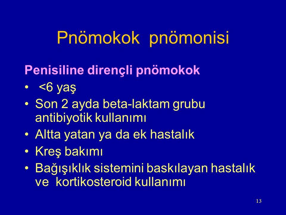 Pnömokok pnömonisi Penisiline dirençli pnömokok <6 yaş