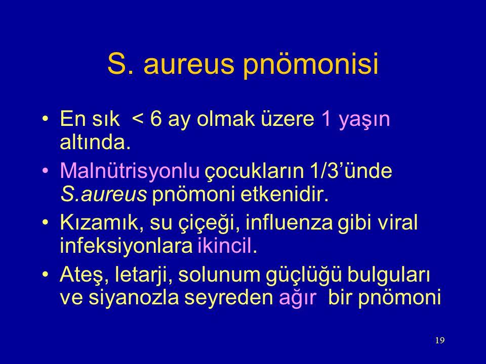 S. aureus pnömonisi En sık < 6 ay olmak üzere 1 yaşın altında.