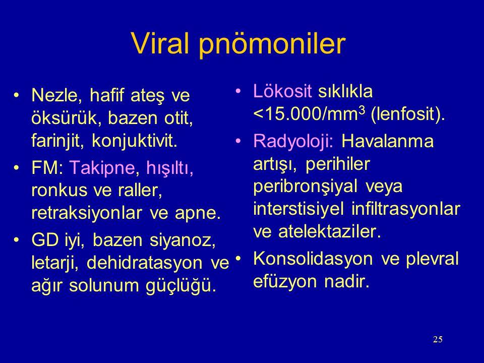 Viral pnömoniler Lökosit sıklıkla <15.000/mm3 (lenfosit).