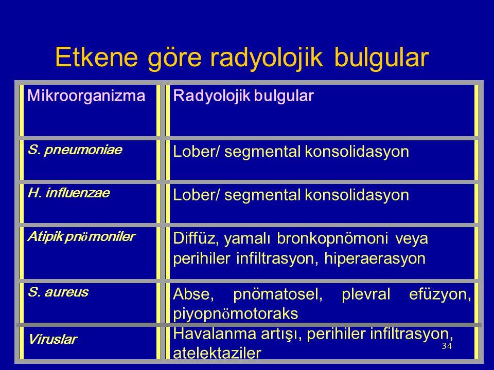 Etkene göre radyolojik bulgular