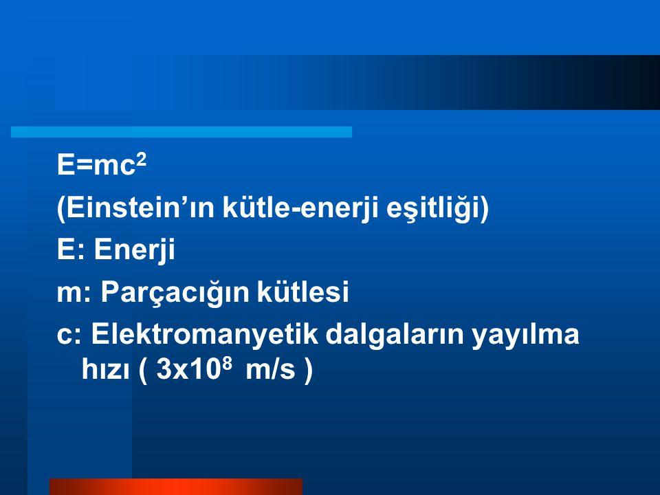 E=mc2 (Einstein'ın kütle-enerji eşitliği) E: Enerji.
