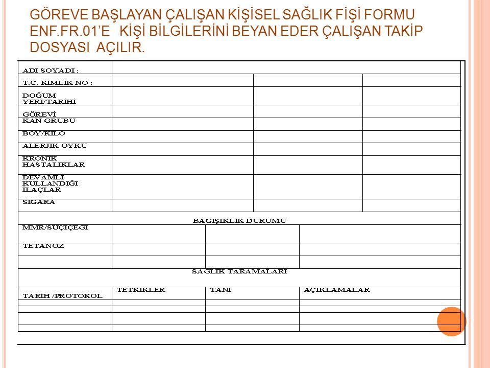GÖREVE BAŞLAYAN ÇALIŞAN KİŞİSEL SAĞLIK FİŞİ FORMU ENF. FR