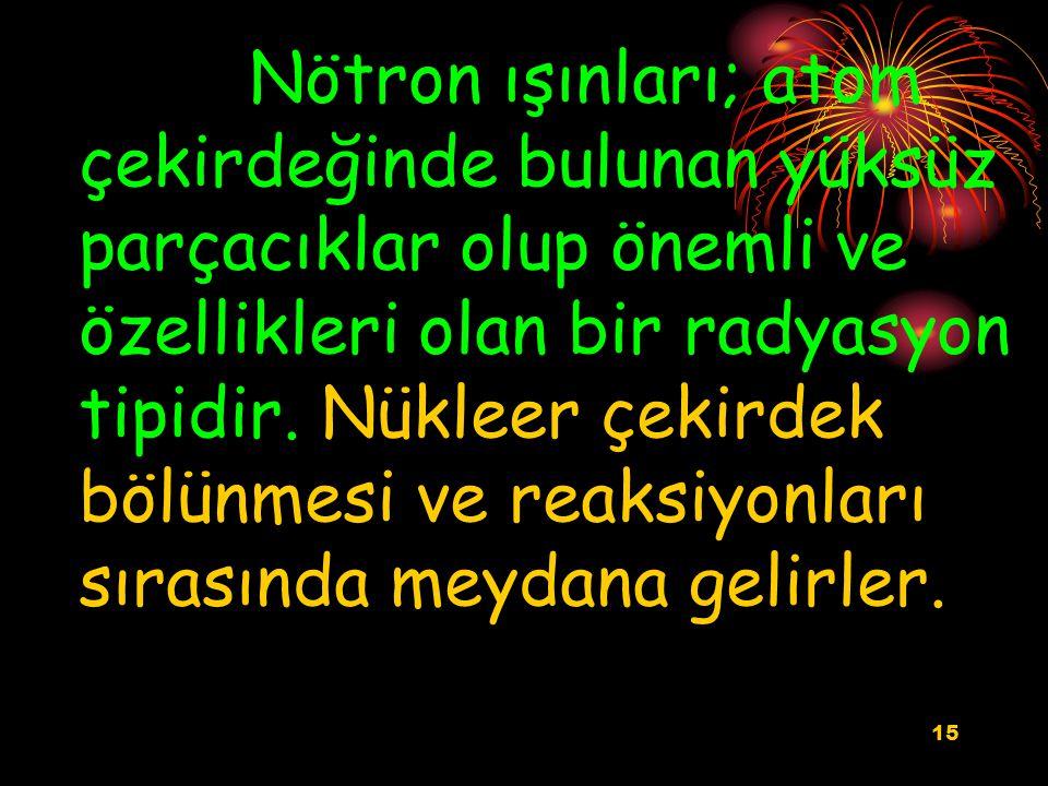 Nötron ışınları; atom çekirdeğinde bulunan yüksüz parçacıklar olup önemli ve özellikleri olan bir radyasyon tipidir.