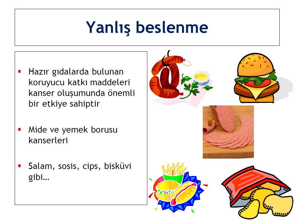 Yanlış beslenme Hazır gıdalarda bulunan koruyucu katkı maddeleri kanser oluşumunda önemli bir etkiye sahiptir.