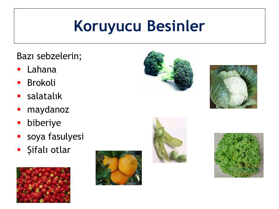 Koruyucu Besinler Bazı sebzelerin; Lahana Brokoli salatalık maydanoz