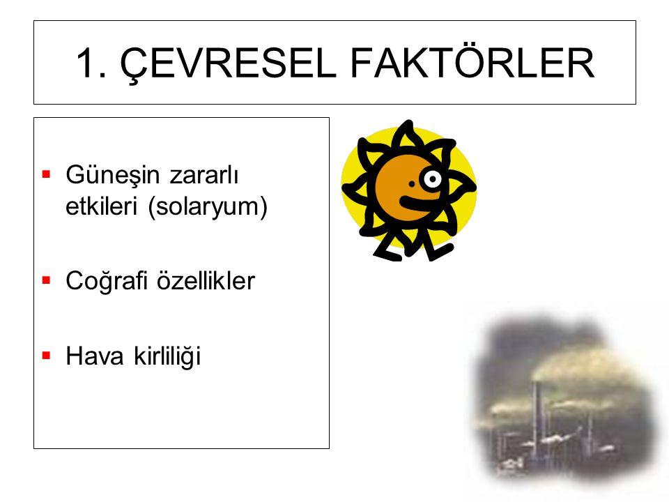 1. ÇEVRESEL FAKTÖRLER Güneşin zararlı etkileri (solaryum)