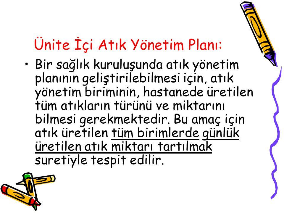 Ünite İçi Atık Yönetim Planı: