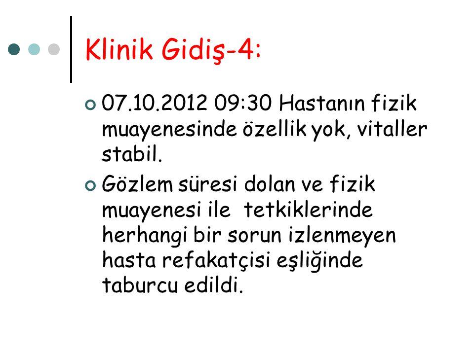 Klinik Gidiş-4: 07.10.2012 09:30 Hastanın fizik muayenesinde özellik yok, vitaller stabil.