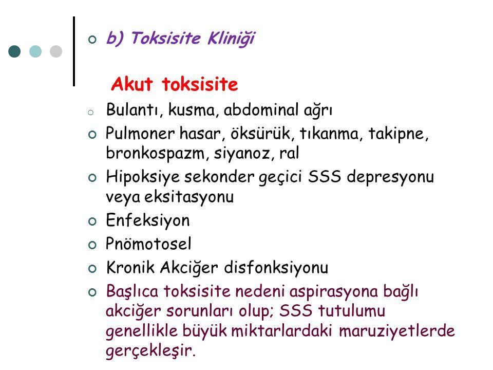 Akut toksisite b) Toksisite Kliniği Bulantı, kusma, abdominal ağrı
