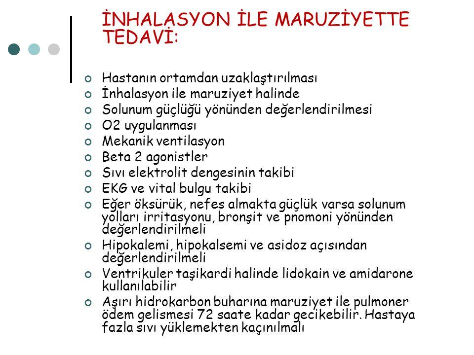 İNHALASYON İLE MARUZİYETTE TEDAVİ: