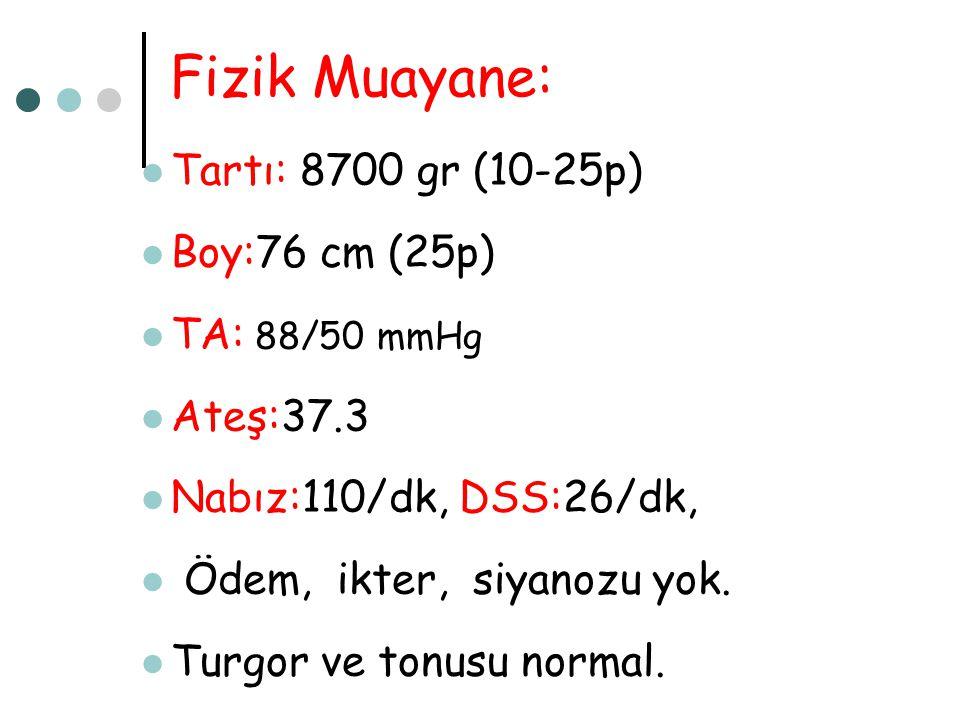 Fizik Muayane: Tartı: 8700 gr (10-25p) Boy:76 cm (25p) TA: 88/50 mmHg