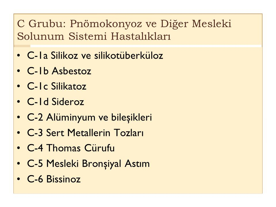C Grubu: Pnömokonyoz ve Diğer Mesleki Solunum Sistemi Hastalıkları