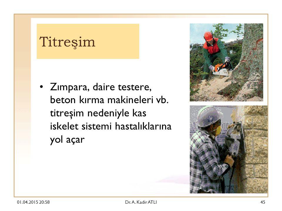 Titreşim Zımpara, daire testere, beton kırma makineleri vb. titreşim nedeniyle kas iskelet sistemi hastalıklarına yol açar.