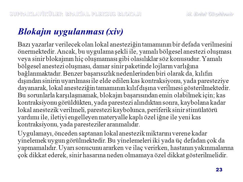 SUPRAKLAVİKÜLER BRAKİAL PLEKSUS BLOKAJI M. Erdal Güzeldemir