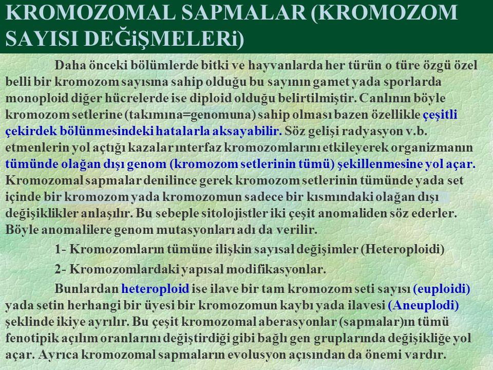 KROMOZOMAL SAPMALAR (KROMOZOM SAYISI DEĞiŞMELERi)