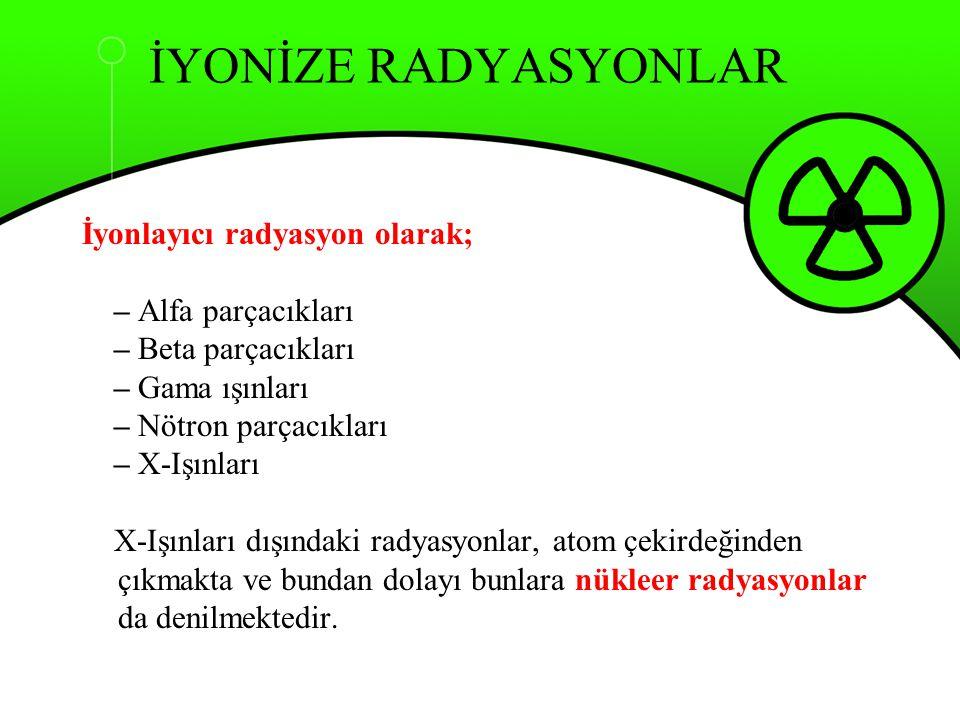 İYONİZE RADYASYONLAR İyonlayıcı radyasyon olarak; – Alfa parçacıkları