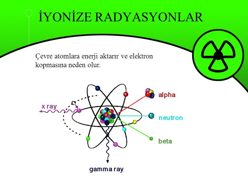 Çevre atomlara enerji aktarır ve elektron kopmasına neden olur.