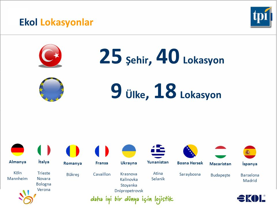 25 Şehir, 40 Lokasyon 9 Ülke, 18 Lokasyon