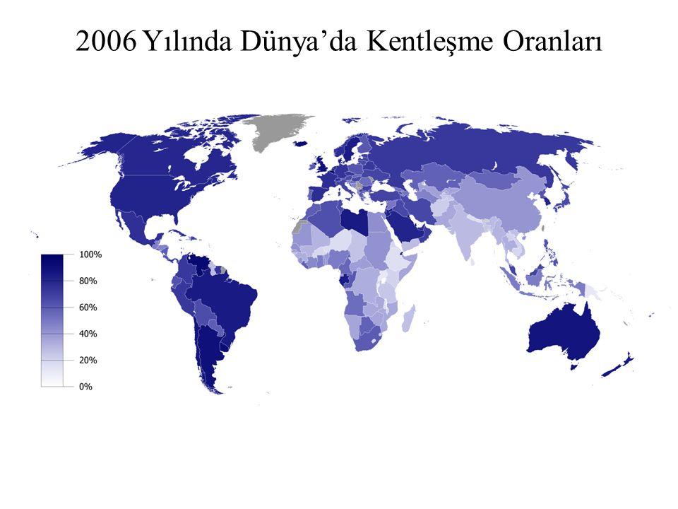 2006 Yılında Dünya'da Kentleşme Oranları
