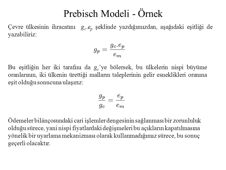 Prebisch Modeli - Örnek