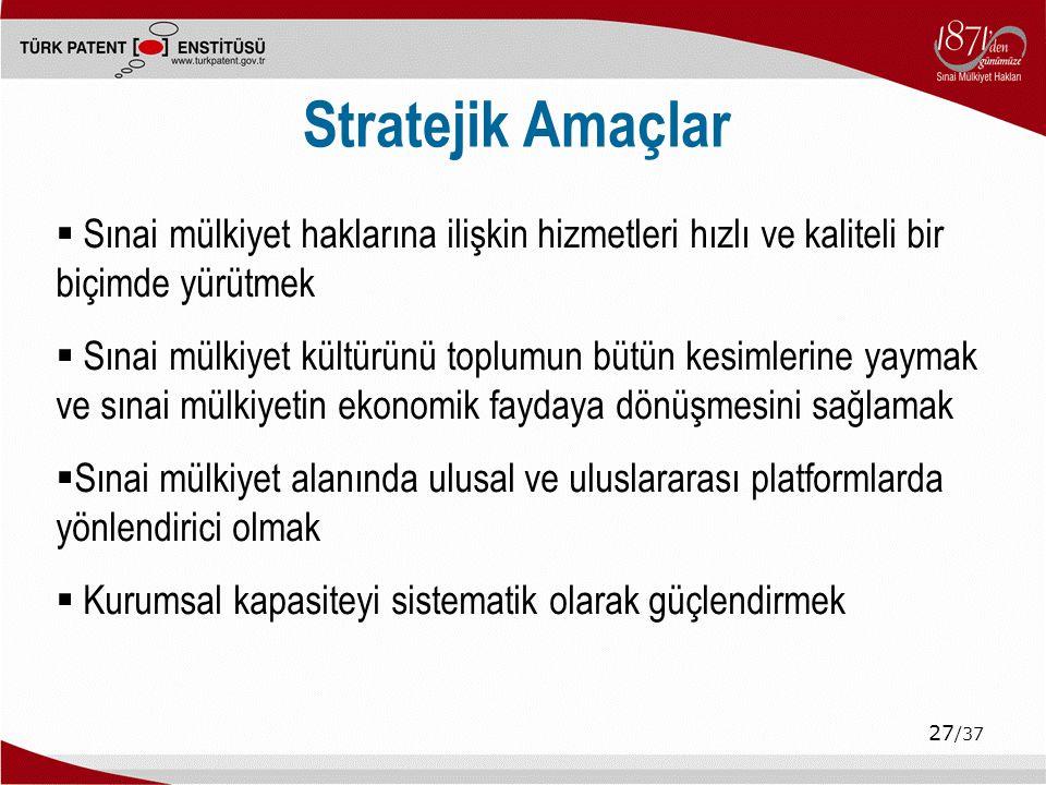 Stratejik Amaçlar Sınai mülkiyet haklarına ilişkin hizmetleri hızlı ve kaliteli bir biçimde yürütmek.