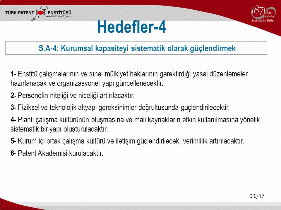 S.A-4: Kurumsal kapasiteyi sistematik olarak güçlendirmek