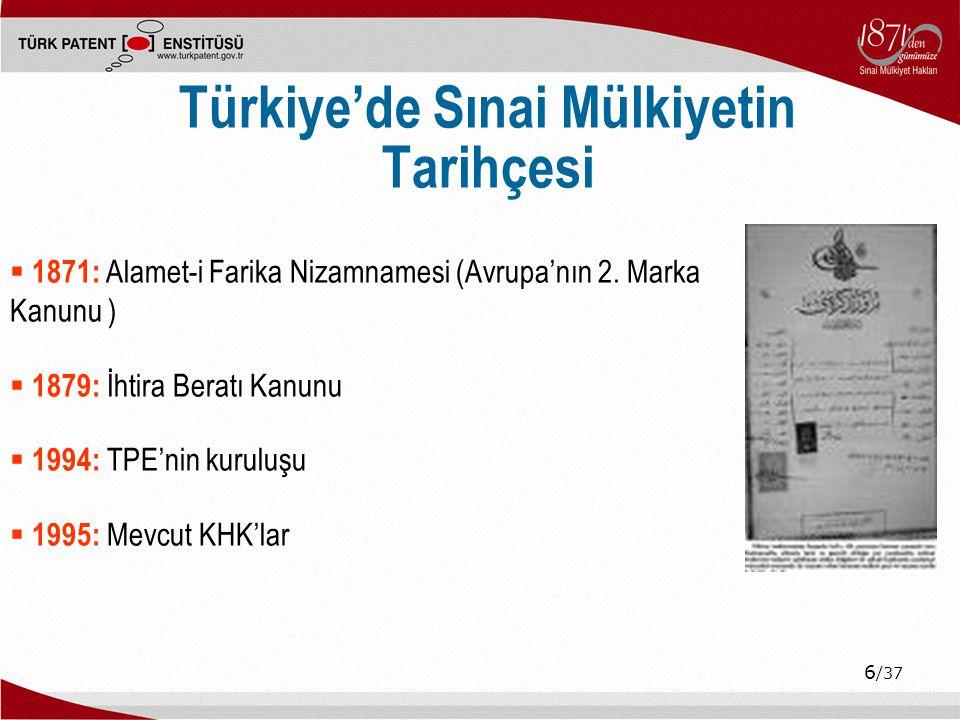 Türkiye'de Sınai Mülkiyetin Tarihçesi