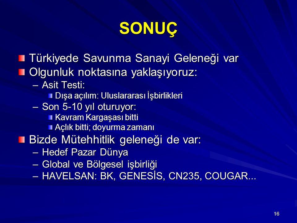 SONUÇ Türkiyede Savunma Sanayi Geleneği var