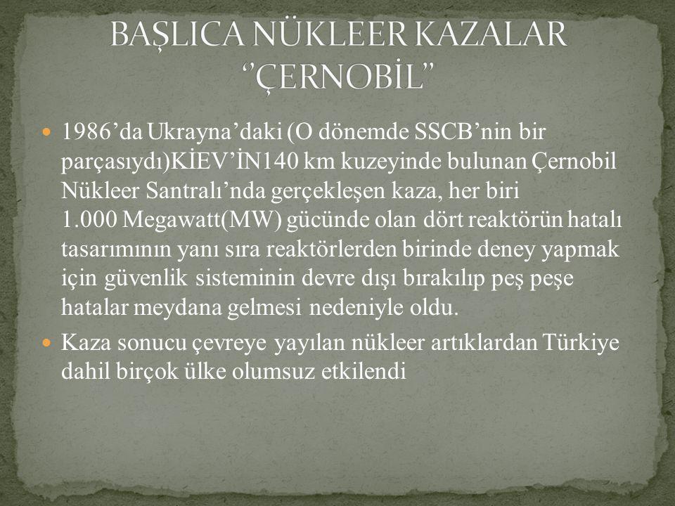 BAŞLICA NÜKLEER KAZALAR ''ÇERNOBİL''