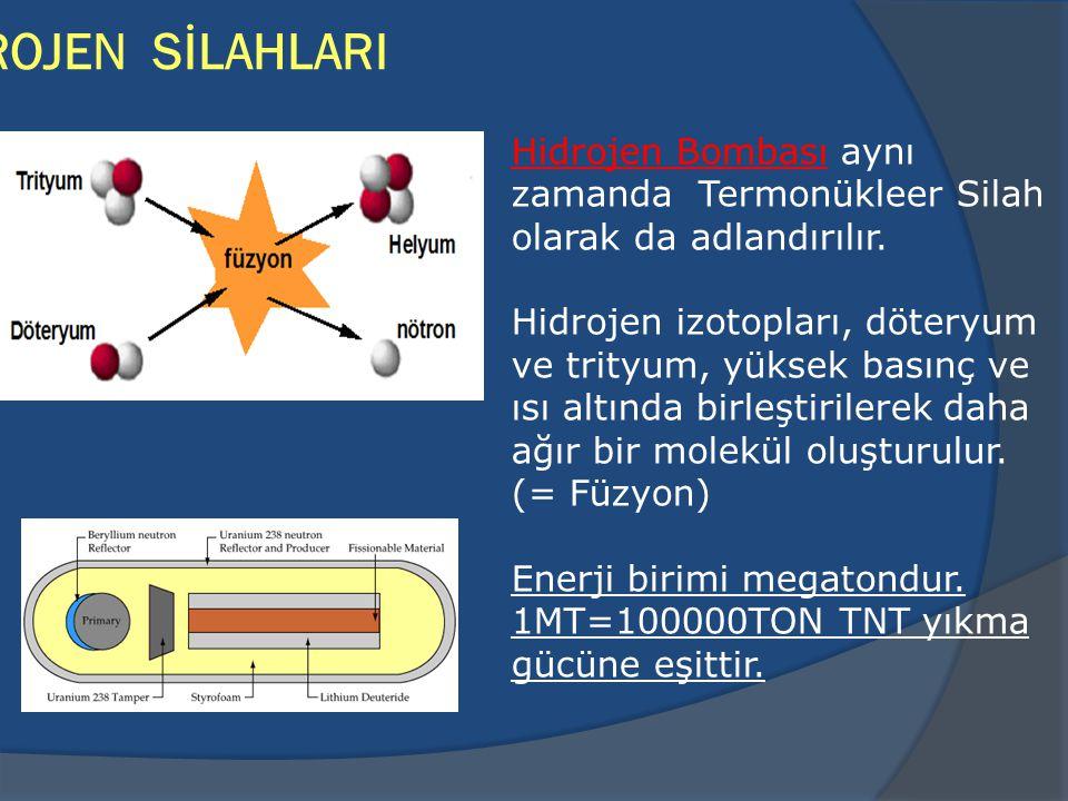 HİDROJEN SİLAHLARI Hidrojen Bombası aynı zamanda Termonükleer Silah olarak da adlandırılır.
