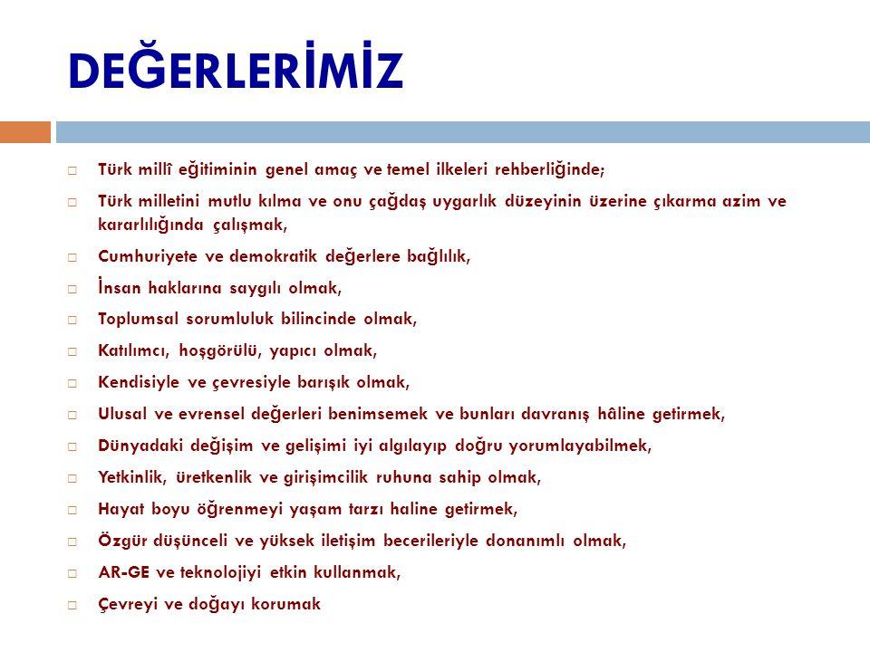 DEĞERLERİMİZ Türk millî eğitiminin genel amaç ve temel ilkeleri rehberliğinde;
