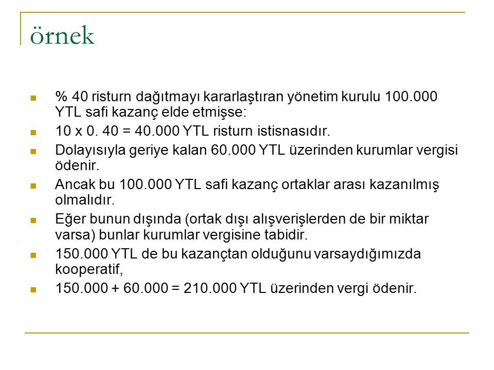 örnek % 40 risturn dağıtmayı kararlaştıran yönetim kurulu 100.000 YTL safi kazanç elde etmişse: 10 x 0. 40 = 40.000 YTL risturn istisnasıdır.