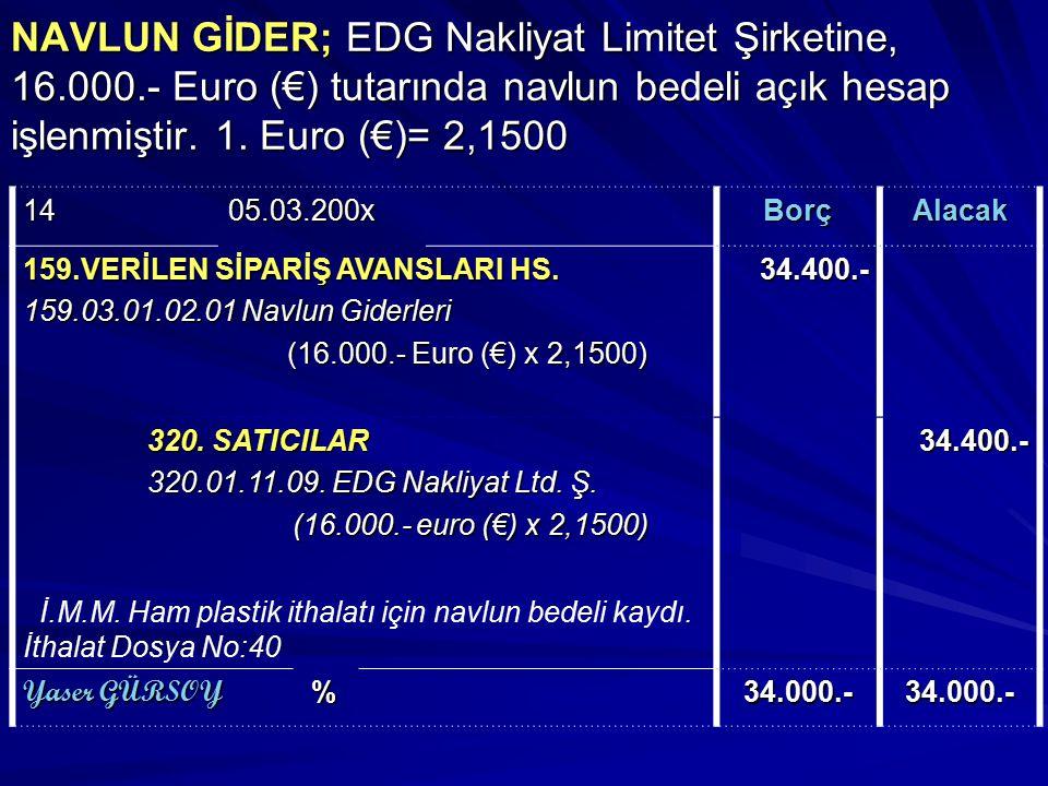 NAVLUN GİDER; EDG Nakliyat Limitet Şirketine, 16. 000