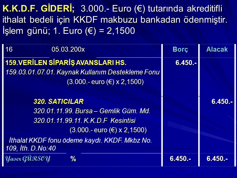 K.K.D.F. GİDERİ; 3.000.- Euro (€) tutarında akreditifli ithalat bedeli için KKDF makbuzu bankadan ödenmiştir. İşlem günü; 1. Euro (€) = 2,1500