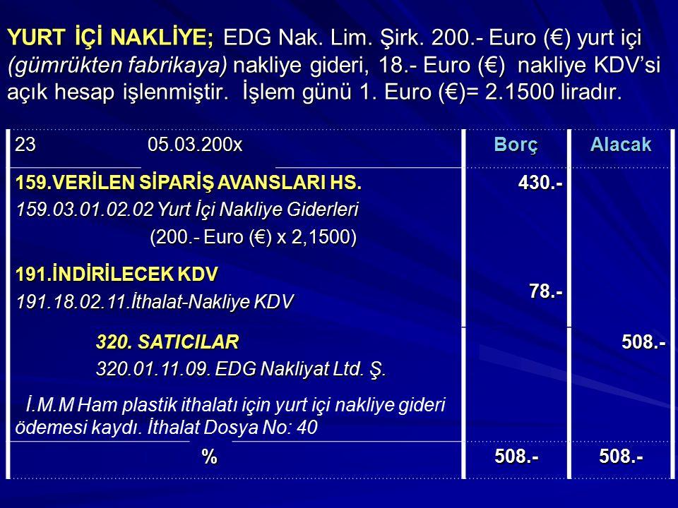 YURT İÇİ NAKLİYE; EDG Nak. Lim. Şirk. 200