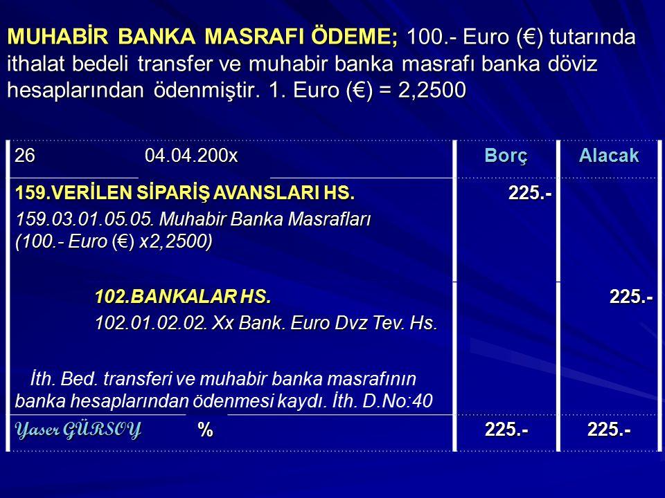 MUHABİR BANKA MASRAFI ÖDEME; 100