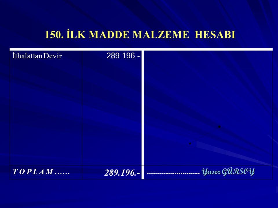 150. İLK MADDE MALZEME HESABI