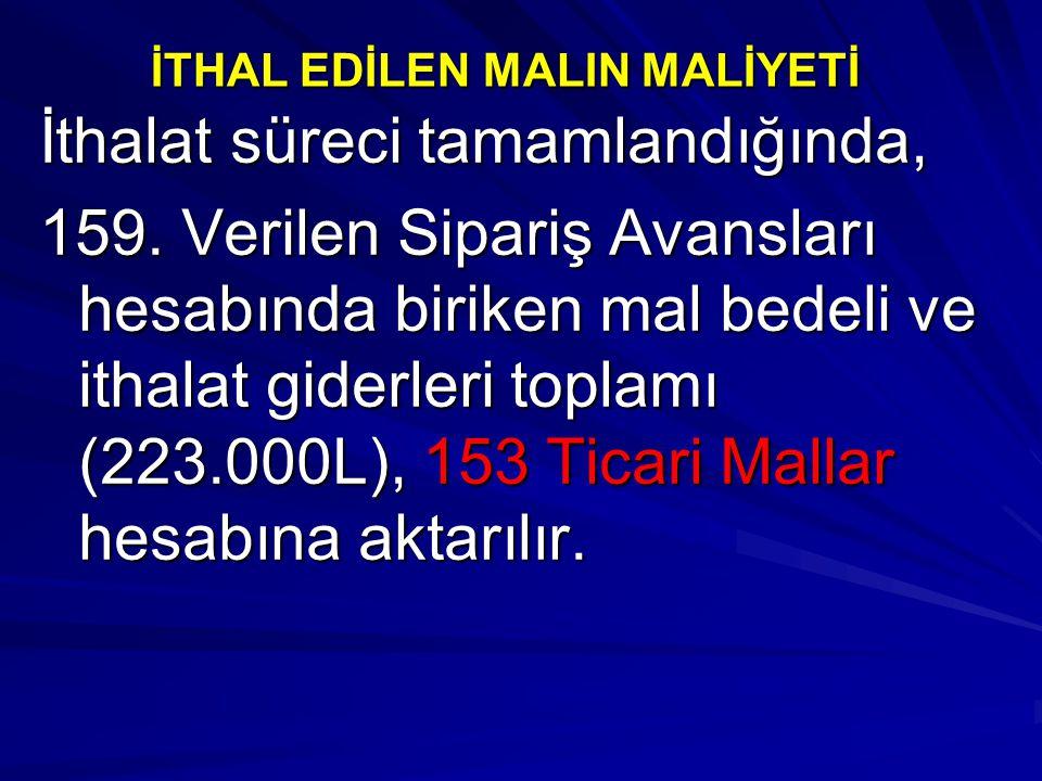 İTHAL EDİLEN MALIN MALİYETİ