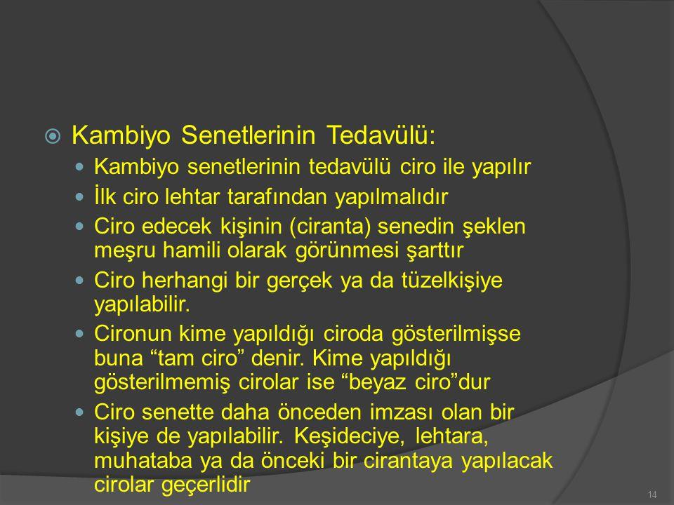 Kambiyo Senetlerinin Tedavülü: