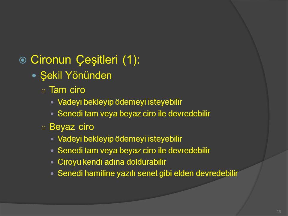 Cironun Çeşitleri (1): Şekil Yönünden Tam ciro Beyaz ciro