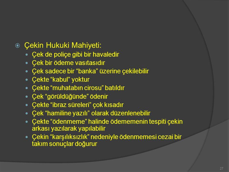 Çekin Hukuki Mahiyeti: