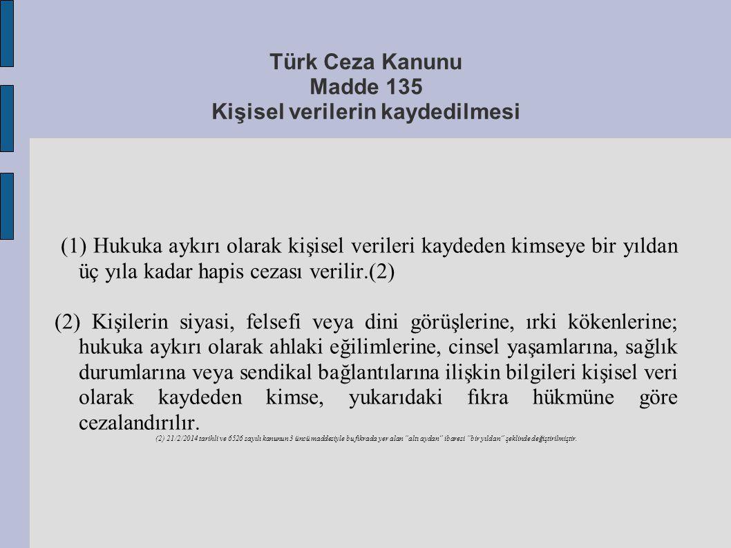 Türk Ceza Kanunu Madde 135 Kişisel verilerin kaydedilmesi