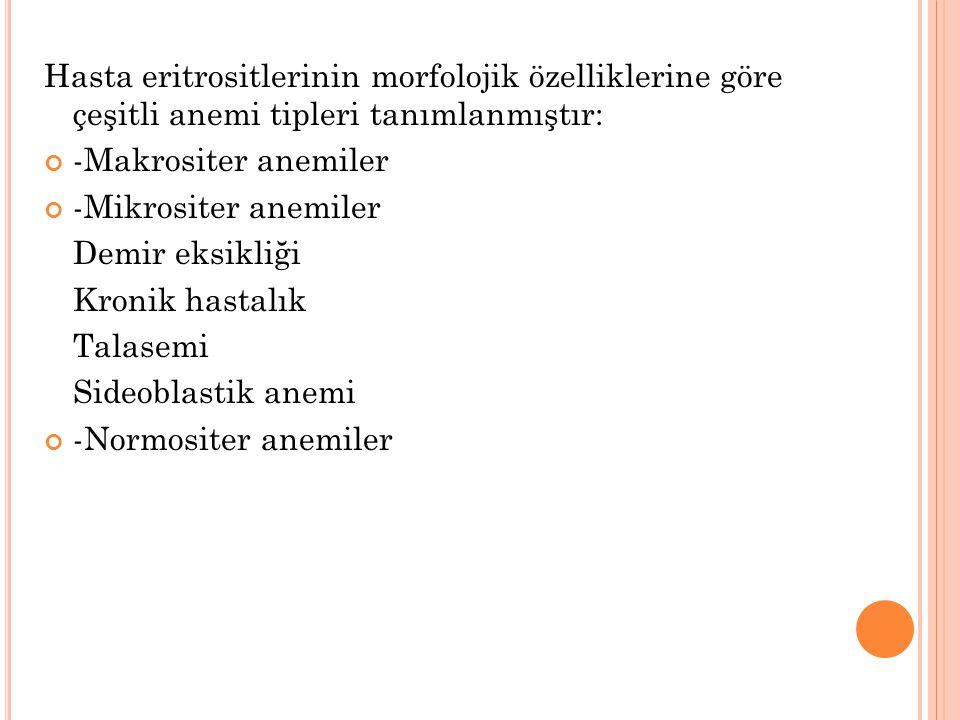 Hasta eritrositlerinin morfolojik özelliklerine göre çeşitli anemi tipleri tanımlanmıştır: