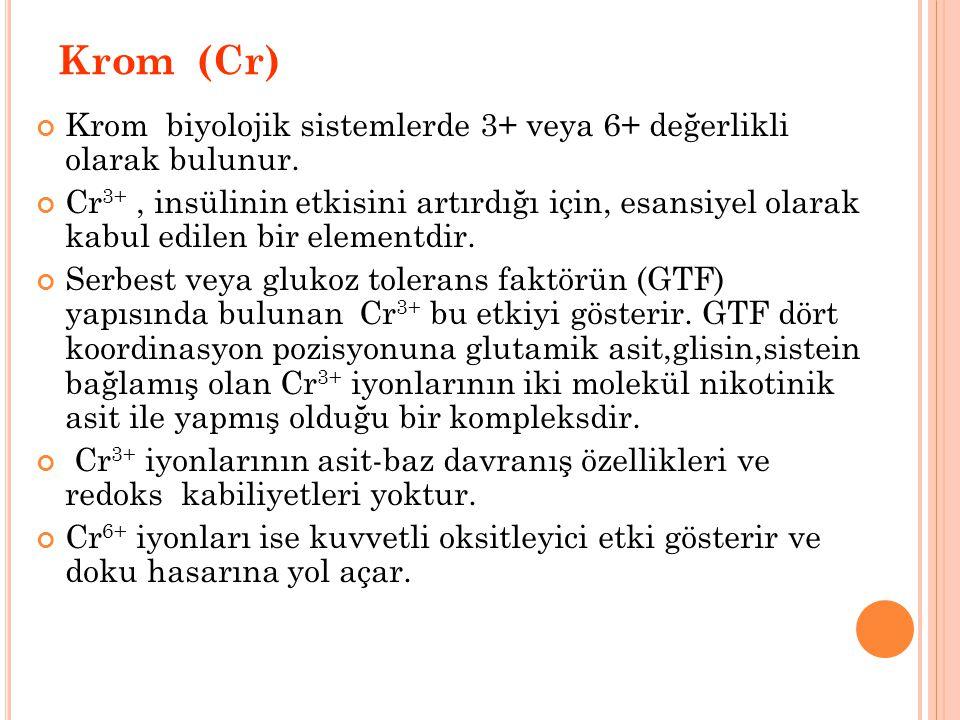 Krom (Cr) Krom biyolojik sistemlerde 3+ veya 6+ değerlikli olarak bulunur.