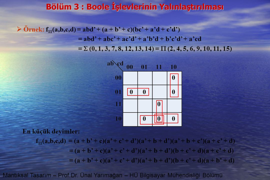  Örnek: f11(a,b,c,d) = abd' + (a + b' + c)(bc' + a'd + c'd')