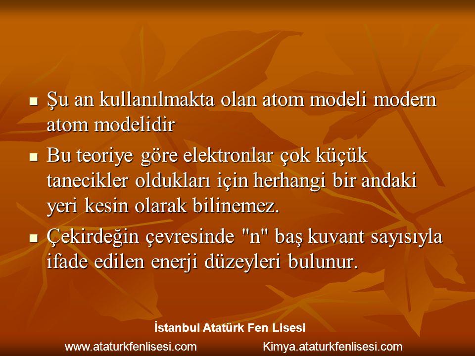 Şu an kullanılmakta olan atom modeli modern atom modelidir