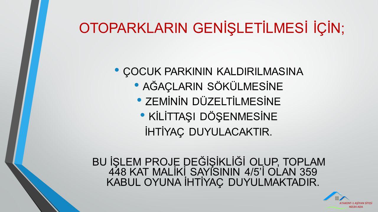OTOPARKLARIN GENİŞLETİLMESİ İÇİN;